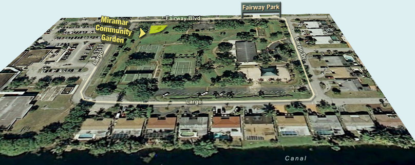 Map of Fairway Park with the Miramar Community Garden highlighted