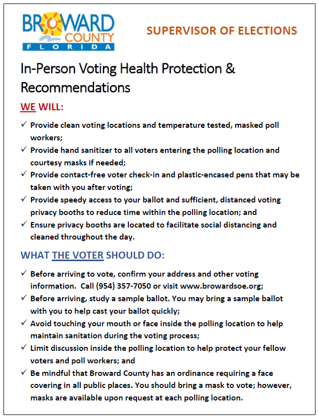 Broward In-Person Voting Recommendation
