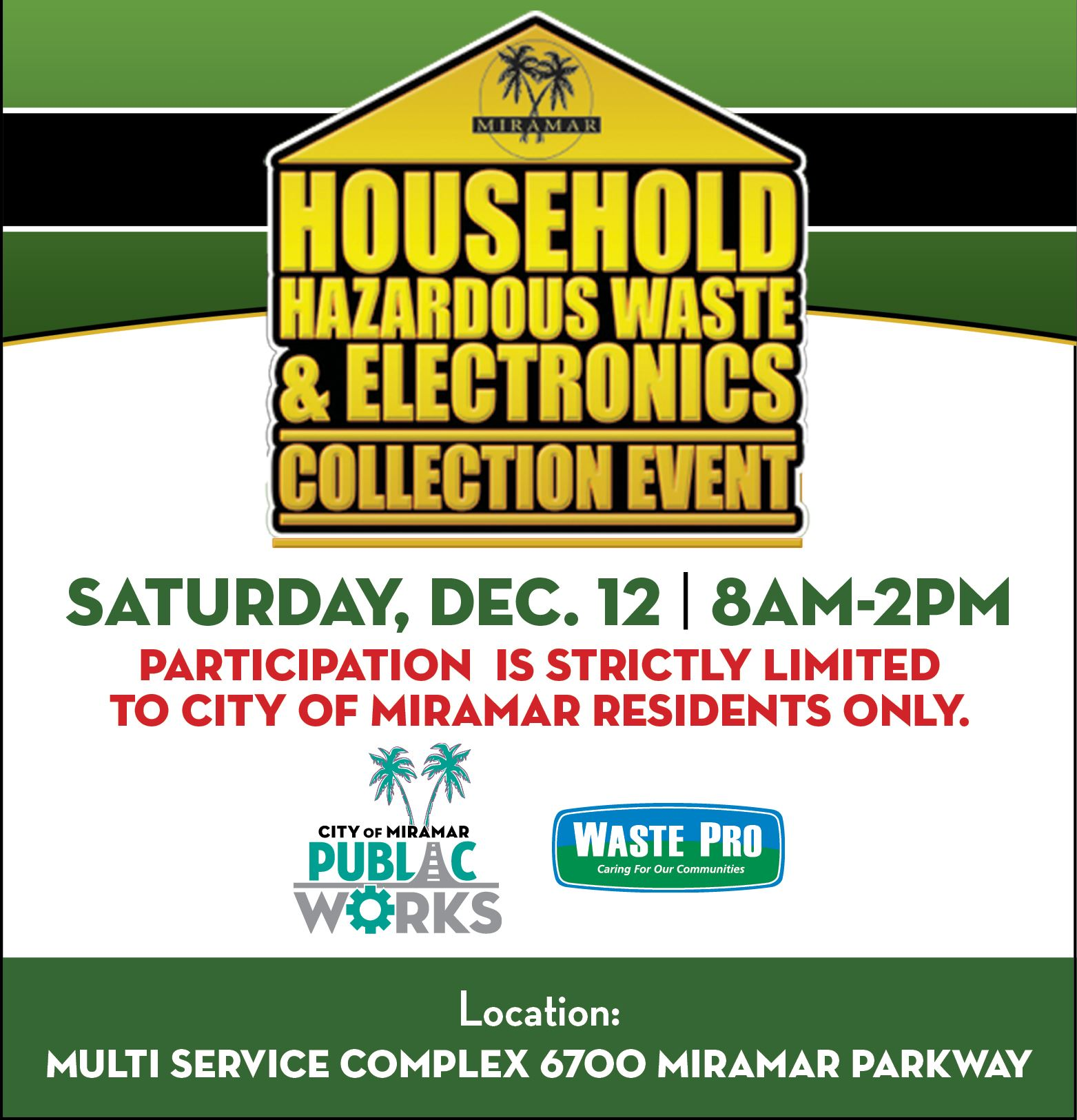 Household Hazardous Waste and Electronics Collection December 12 2020 - Home Page Banner
