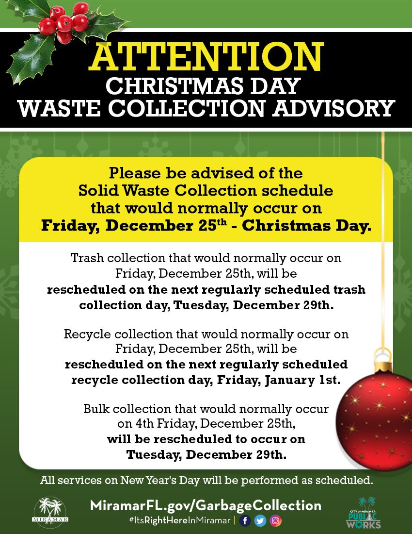 City Of Weirton Garbage Pickup Christmas 2021 Garbage Collection Miramar Fl
