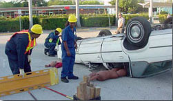 First Responders Training at a Car Crash