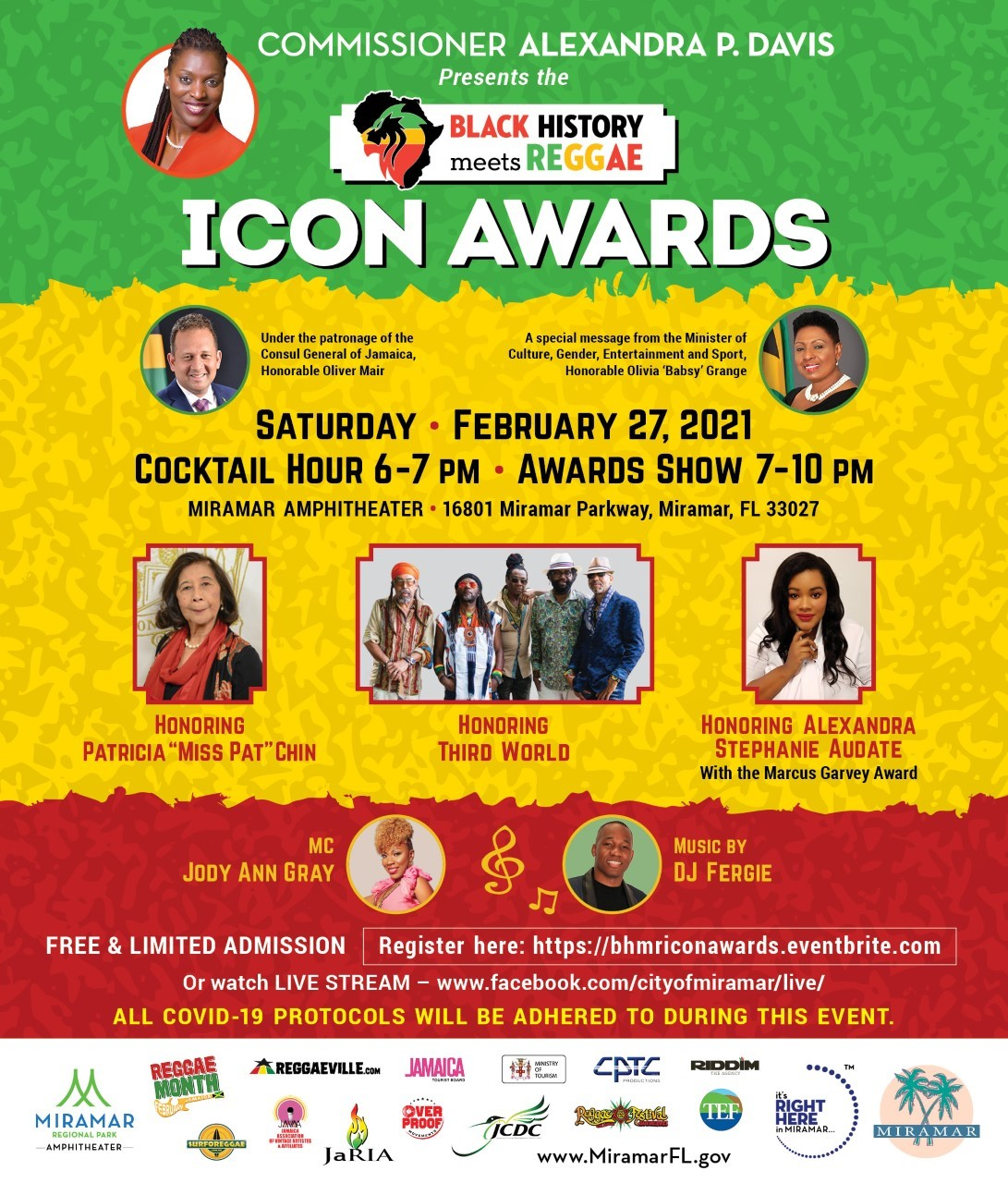 Commissioner Davis Black History Meets Reggae Icon Awards Flyer