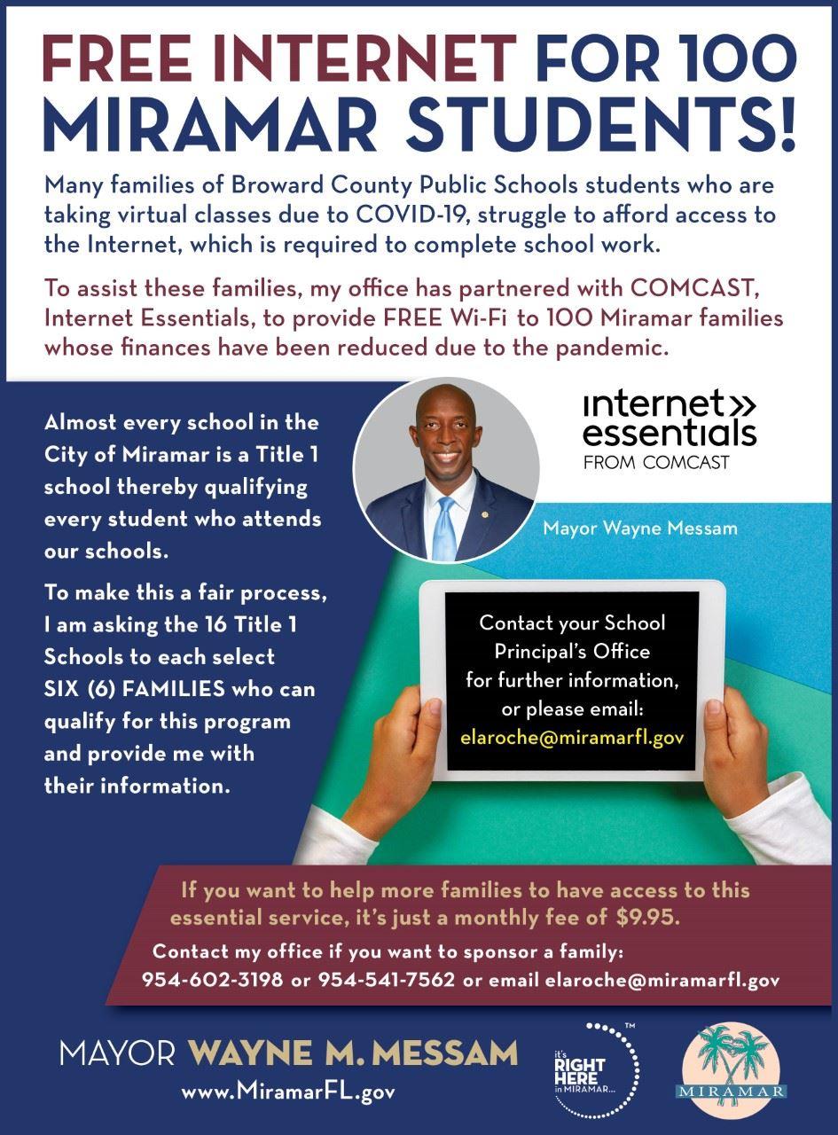 Mayor Messam Free Internet for Miramar Students - Flyer