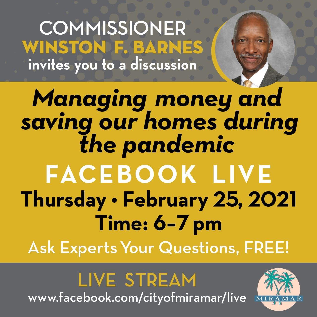 Commissioner Barnes Managing Money Facebook Live - Flyer