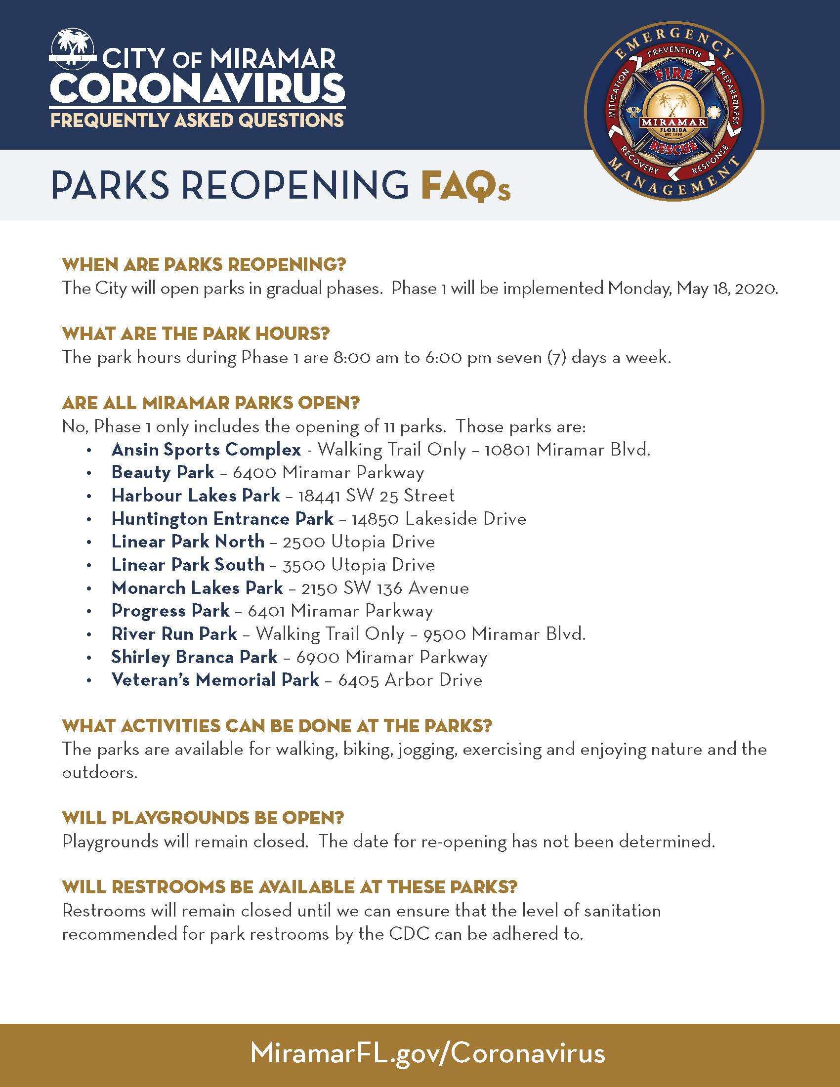 Parks Reopen FAQ Page 1