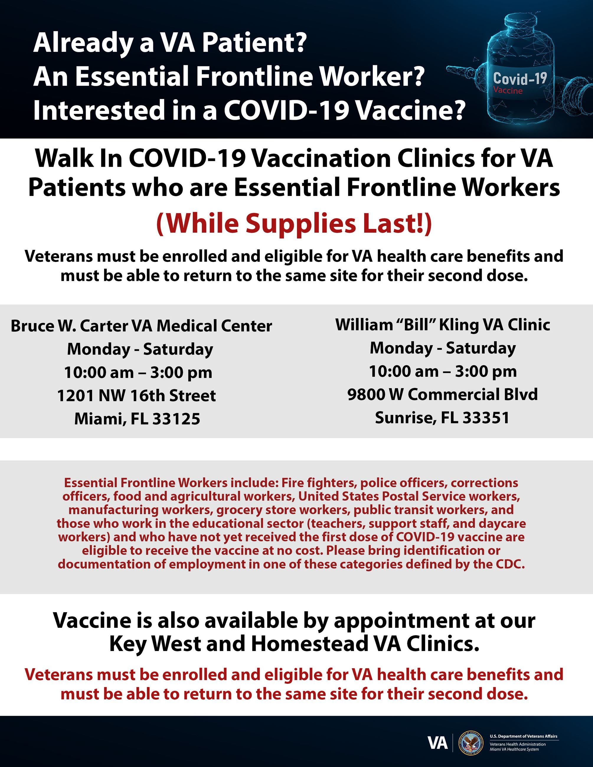 COVID Vaccination at Miami VA Feb252021 for Essential Workers
